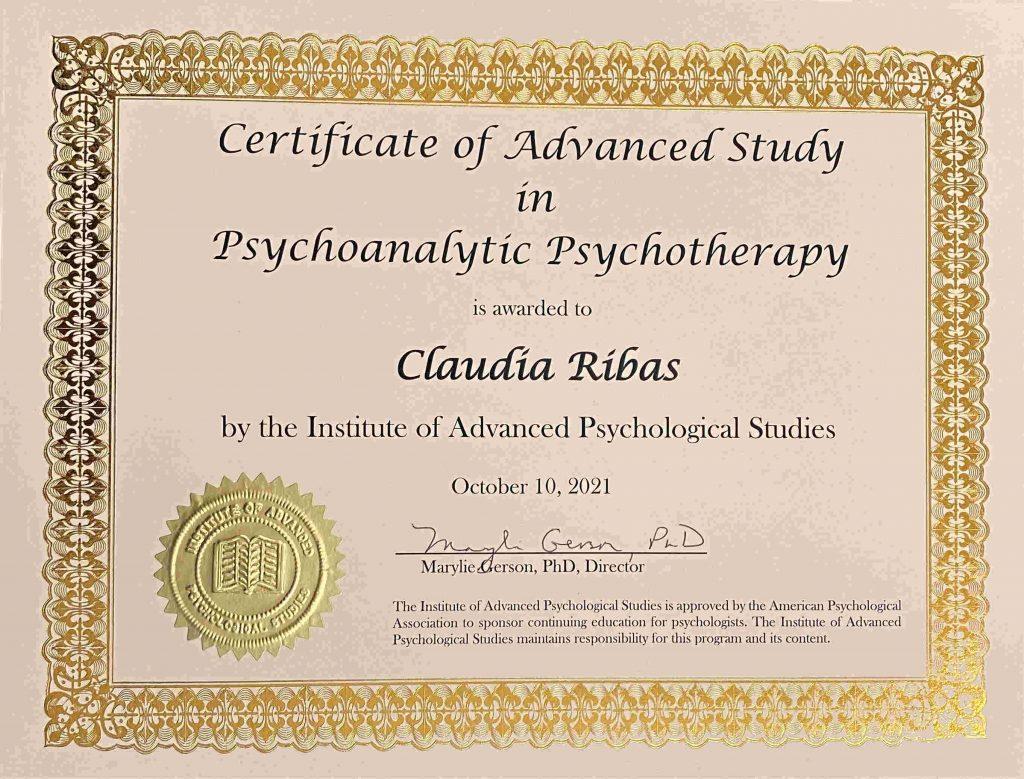 Claudia Ribas Certificate